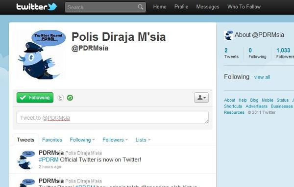 laman Twitter rasmi PDRM