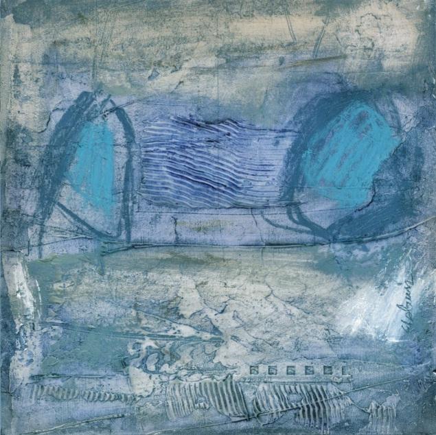 Abstracto en azules y grises