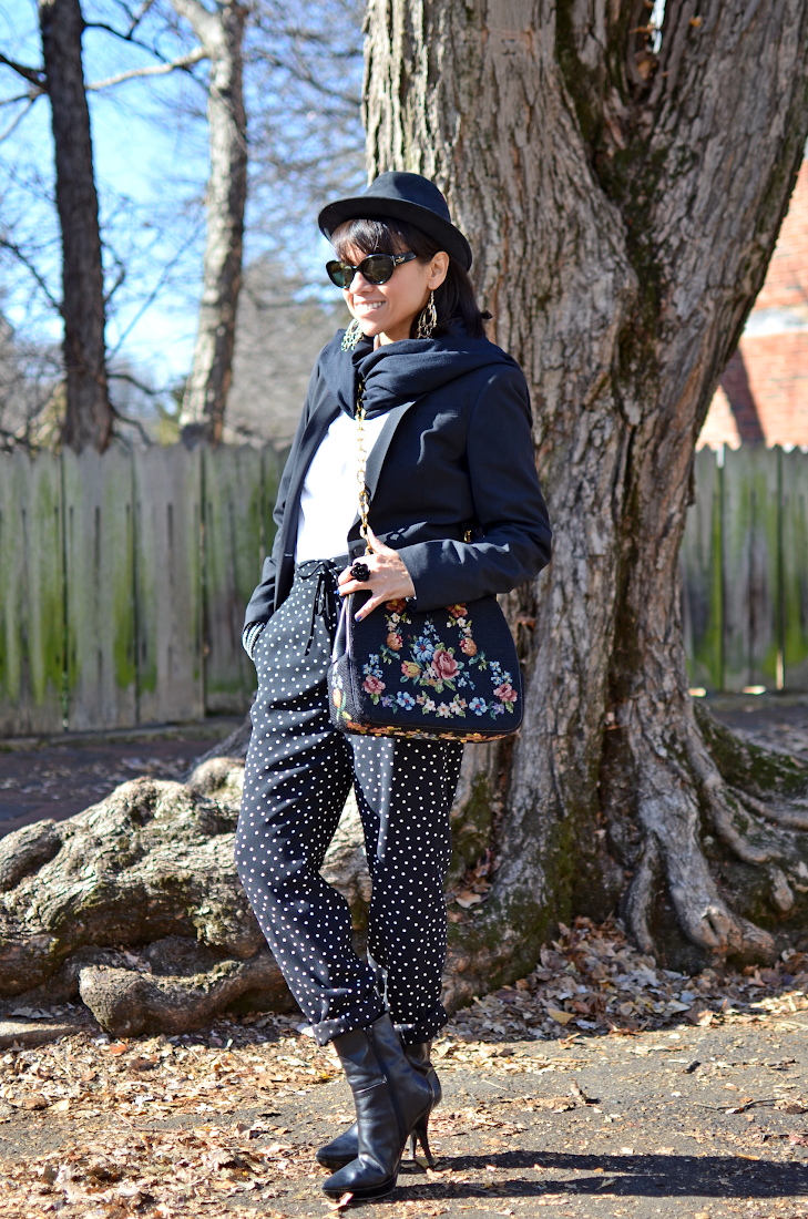 Polka Dots Pants Black Booties Needlepoint Bag