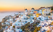 . soonest settlements on an in days of yore single island, . (beautiful santorini greece )