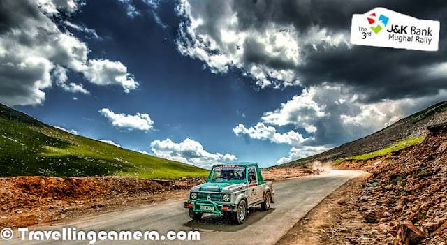 Here is one of my favorite photograph from 3rd Mughal Rally 2012, although it's not a real action photograph. Probably because of beautiful landscape in the photograph. I love these dramatic clouds surrounding these beautiful hills with shining grass. Some part of these hills had snow as well, so some hidden attachments as well.