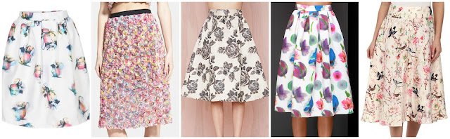 Romwe Floral Flare Midi Skirt $17.33 (regular $33.15) similar  Leith Dimensional Floral Midi Skirt $52.80 (regular $88.00)  Nasty Gal Heavy Petal Skirt $59.00 (regular $118.00)  Lulu's Posie On Over Ivory Floral Print Midi Skirt $62.00  Unique Vintage Midi Vivien Skirt $72.00