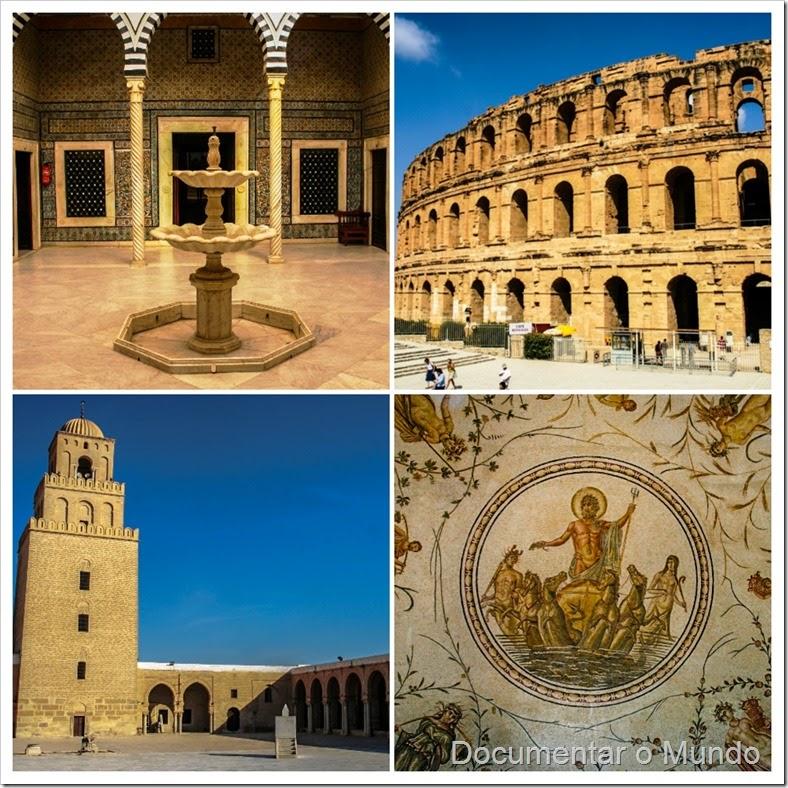 Vestígios Romanos na Tunísia; Anfiteatro D'El Jem; Grande Mesquita de Kairouan; Museu do Bardo; Musée National du Bardo