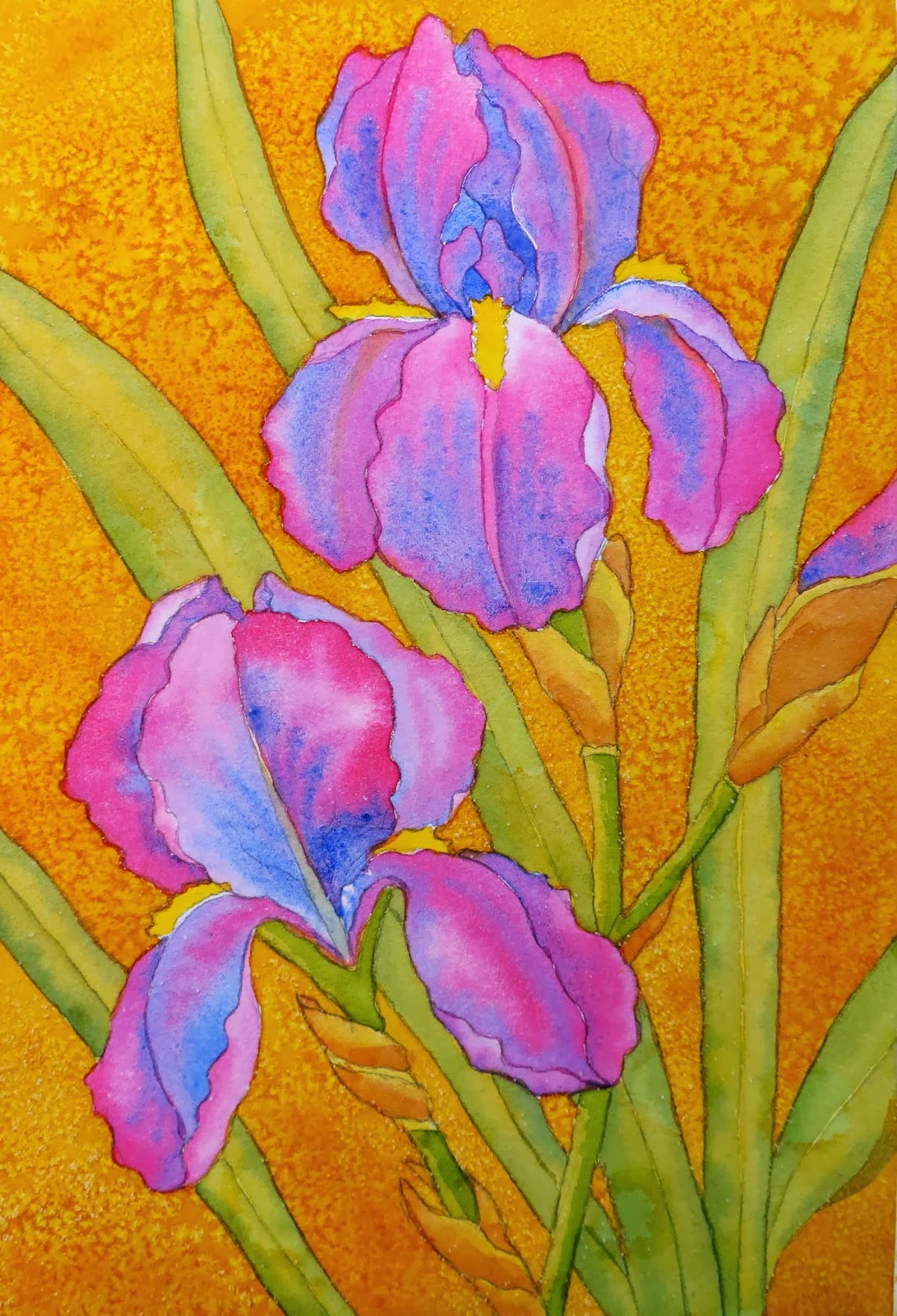 The painted prism watercolor workshop painting bearded irises this time you will paint only the negative background shapes not the leaves after painting each background shape sprinkle it with salt izmirmasajfo