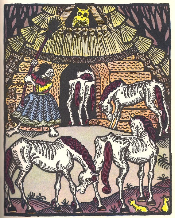 Baba Yaga, fairy tale, illustration, horses, hut on chicken legs