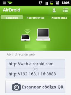 Pantalla aplicación en dispositivo Android