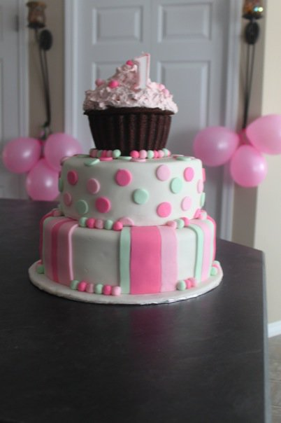 Pin Girl First Birthday Cake Triple L Cakesjpg Cake on Pinterest