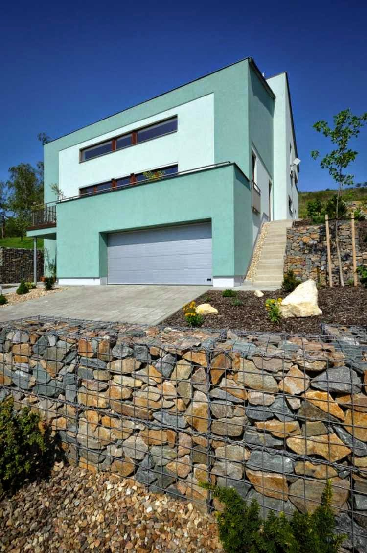 Decorative garden fence panels and walls with natural stone for Terrace fence