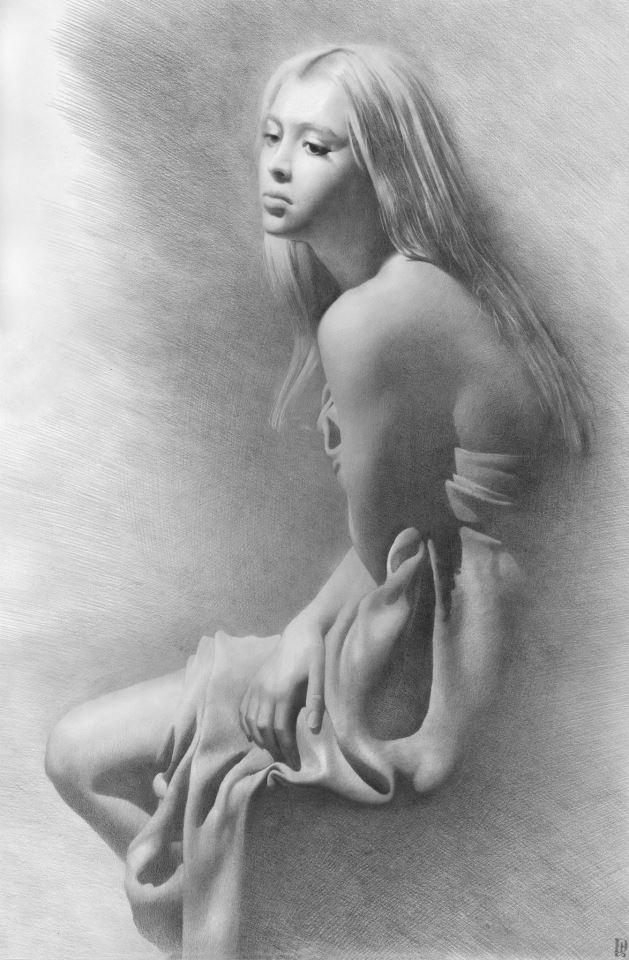 рисунок карандашом голой девушки