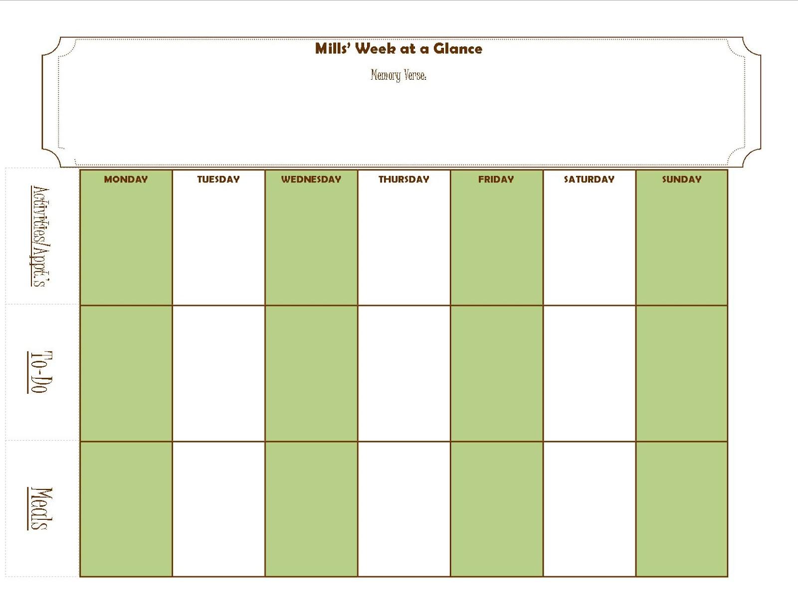 fruitful family family weekly calendar