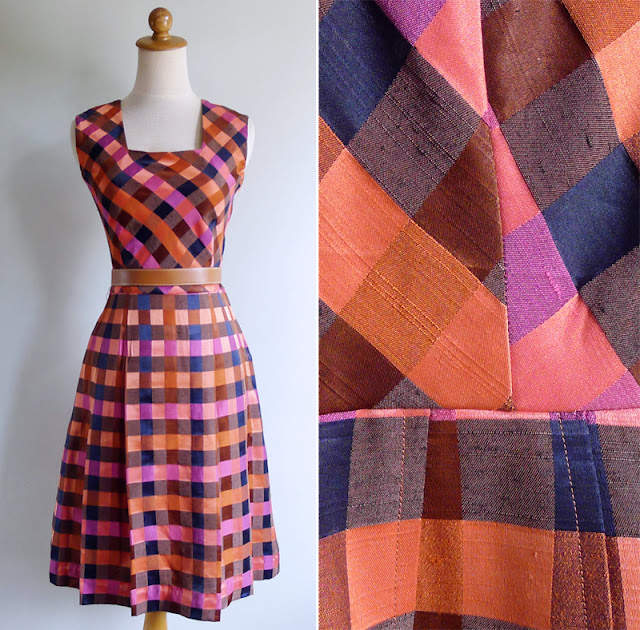 vintage 70's silk checkered square neck dress