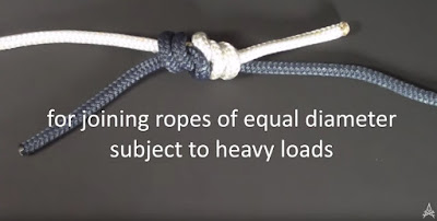 Double Fisherman's Knot joining two ropes for heavy loads