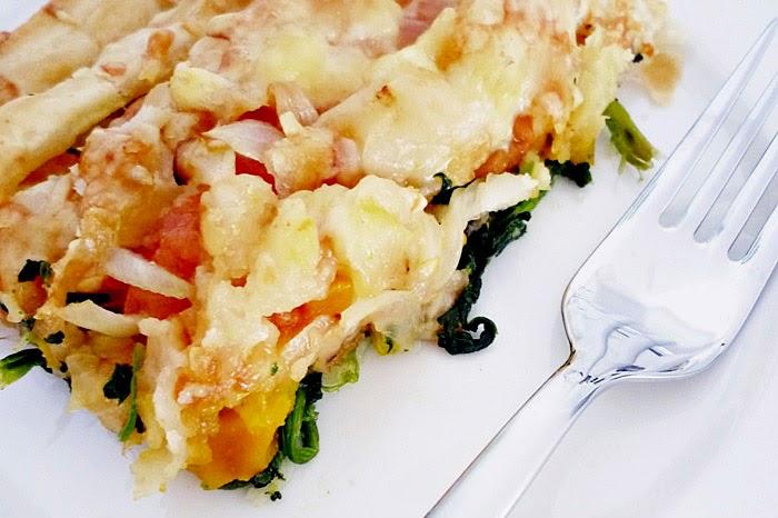 Kürbis-Spinat-Kuchen mit Käse