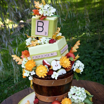 Fall theme off-balance wedding cake