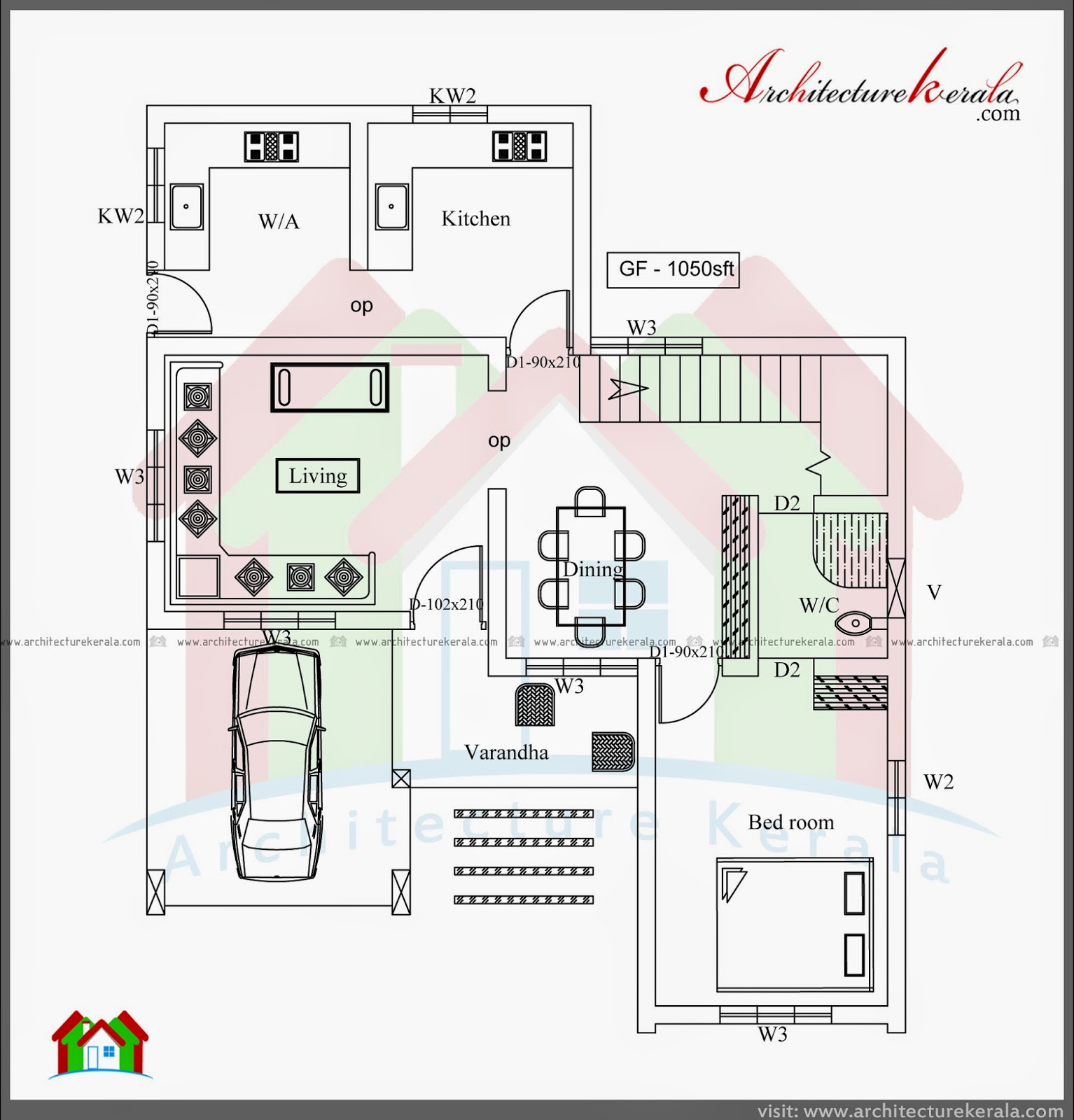 Three bedroom two storey house plan architecture kerala for Kerala house plan 3 bedroom