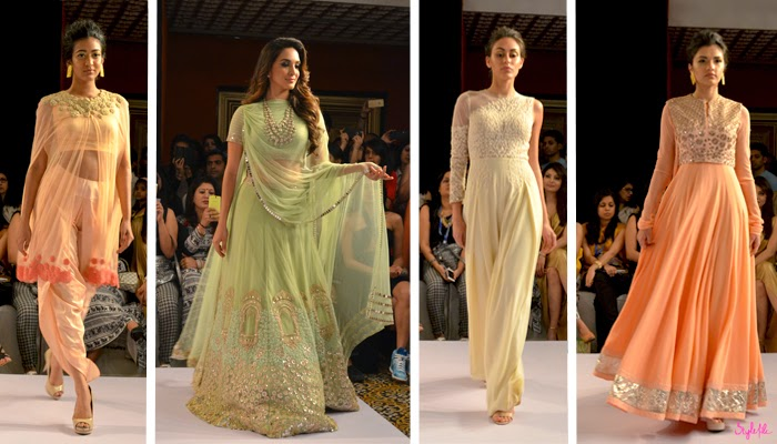 Models wear pastel anarkhalis and lehengas with mirror work as Bollywood actor Kiara Advani is the showstopper for designer Ridhi Mehra on the Jabong stage runway at Lakme Fashion Week Summer Resort 2015