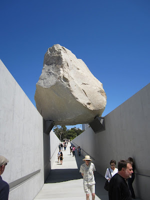 Land art sculpture levitated mass at LACMA by Michael Heizer