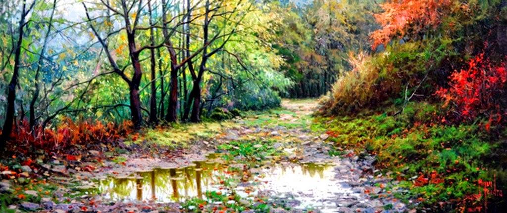 Cuadros modernos pinturas y dibujos paisajes for Cuadros verticales grandes
