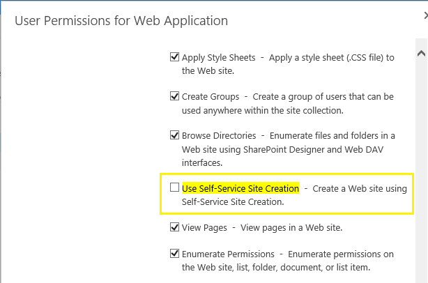 sharepoint self service site creation permission