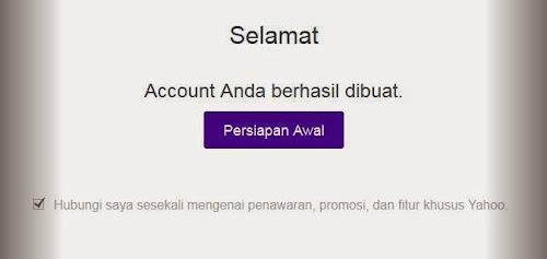 Gambar ucapan selamat account email yahoo berhasil dibuat