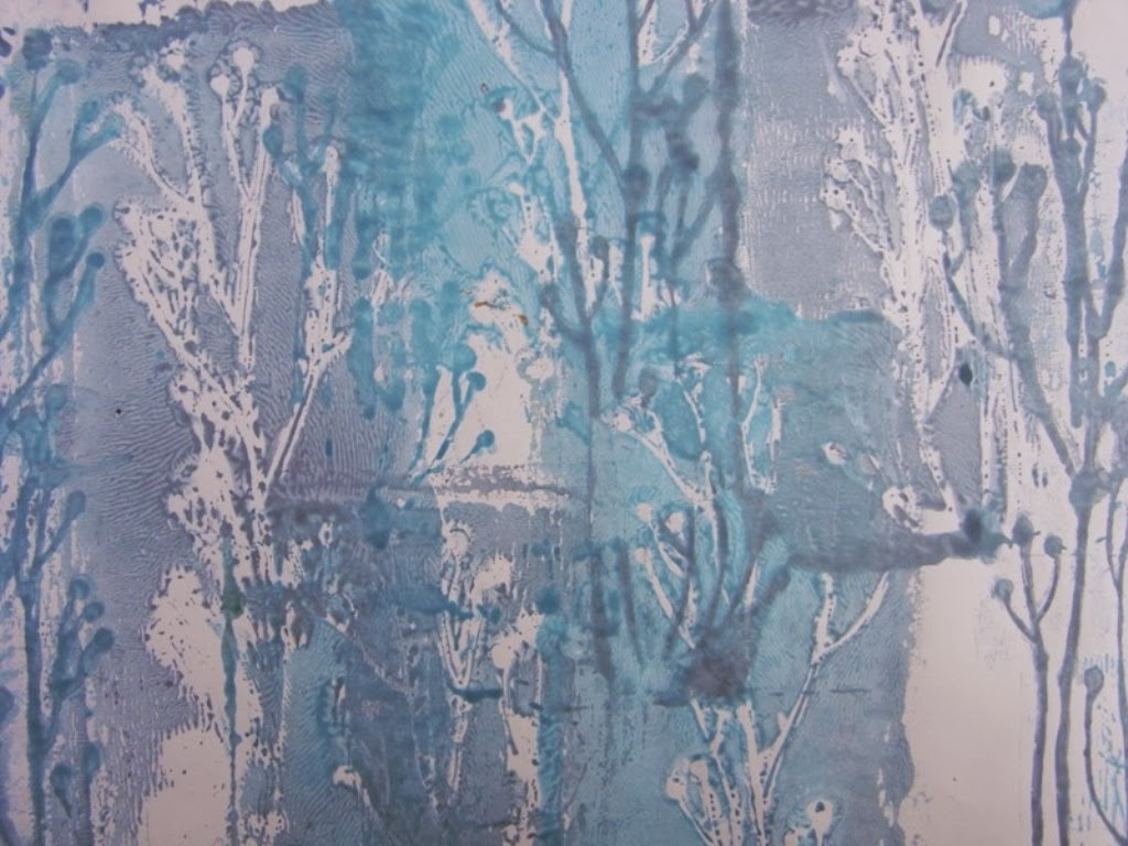 stencils, negative and positive prints,rollers, thickened procion dyes on paper