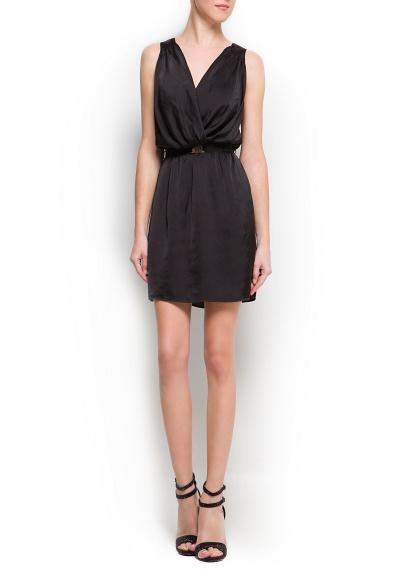 kemerli v yaka kısa siyah elbise