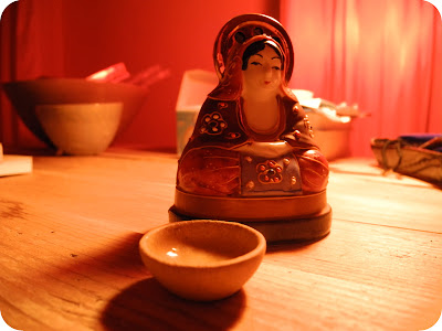 Tiny yellow bowl - a spiritual moment.