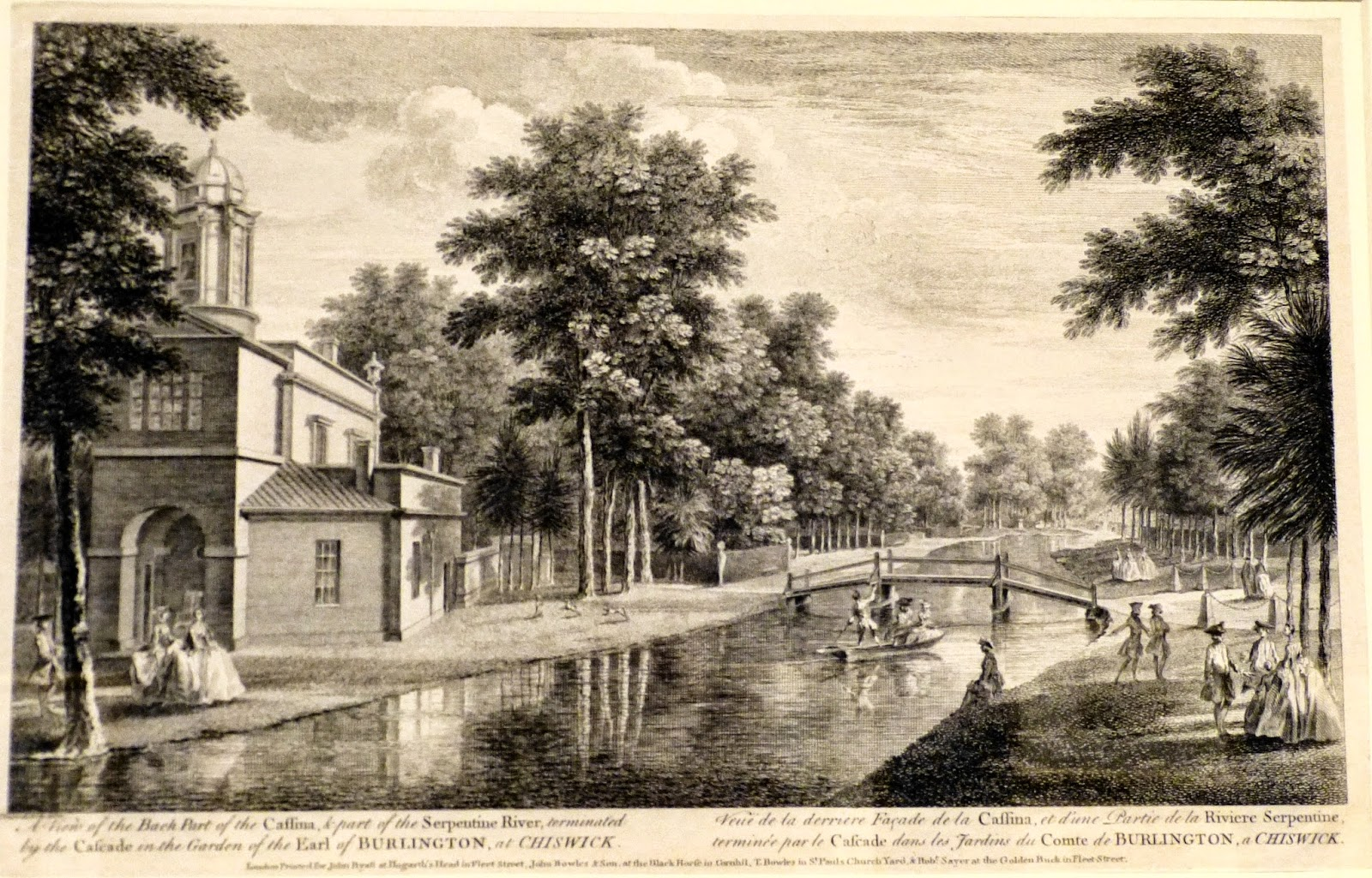 A view of the back part of the Cassina & part of the Serpentine   river, terminated by the cascade - Lord Burlington's gardens   at Chiswick after John Donowell (c1753)