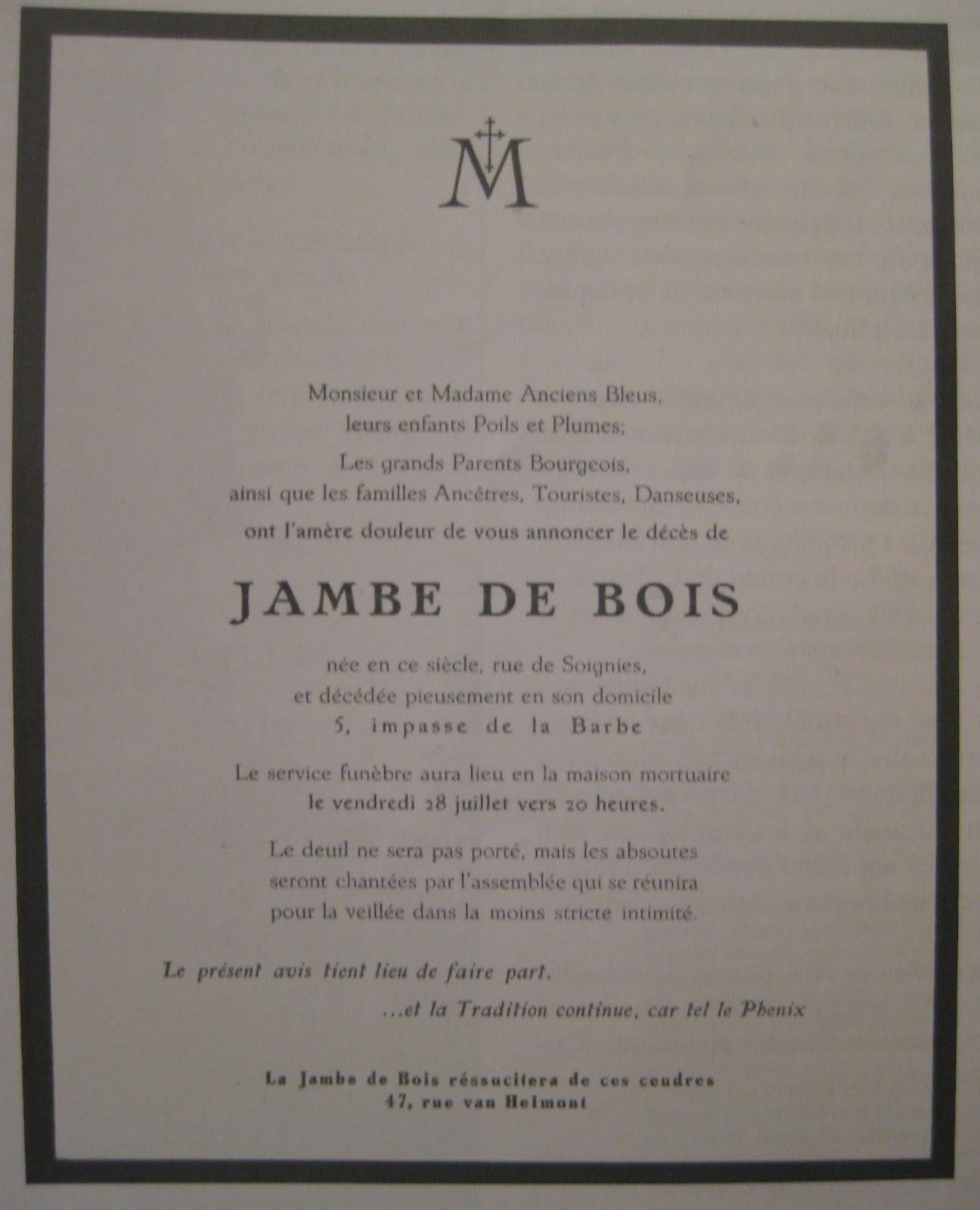 En Bordeaux et Bleu De la Jambe de Bois à lagent Bedebois