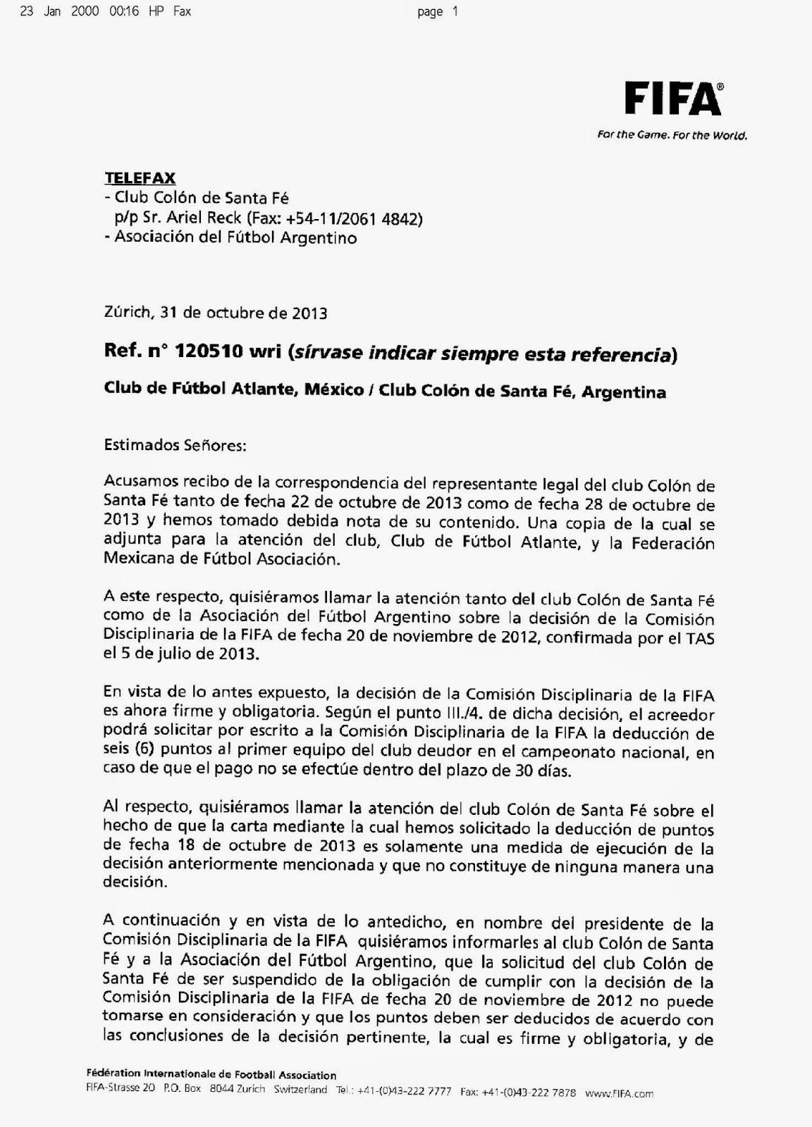 Resolución de FIFA: quita de 6 puntos para Colón.