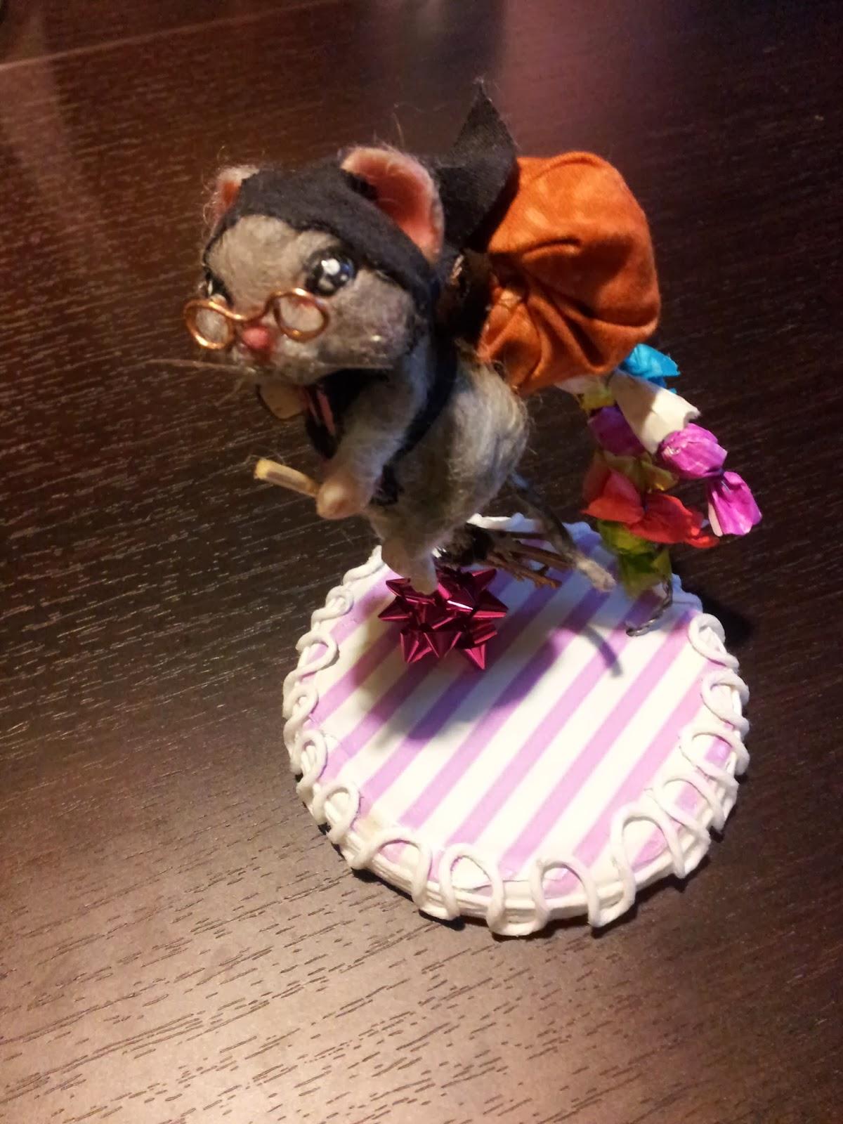 ooak topolino mouse topo polimery clay miniature animal handmade