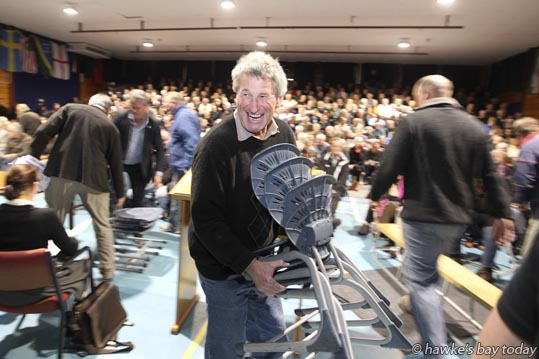 Hundreds of extra chairs/seating were needed at a public meeting about the proposed Ruataniwha Dam, hosted by Hawke's Bay Today, at Tamatea Intermediate School, Napier. photograph