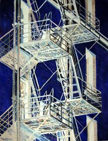 watercolor of fire escape