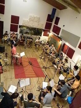 Camerata Argentina de Guitarras grabando en Casa Frida