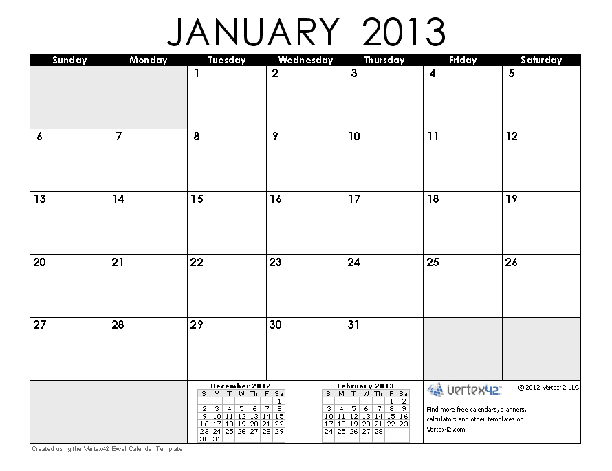 this free printable calendar january 2013 in free in portrait layout