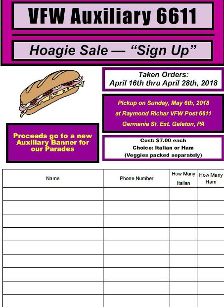 4-26 thru 4-28 Hoagie Orders Taken