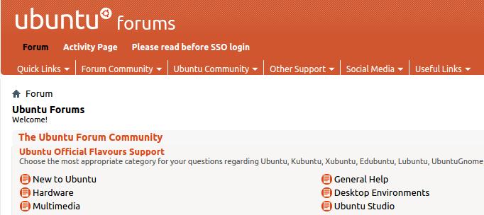 contoh tampilan dari website www.ubuntuforums.com