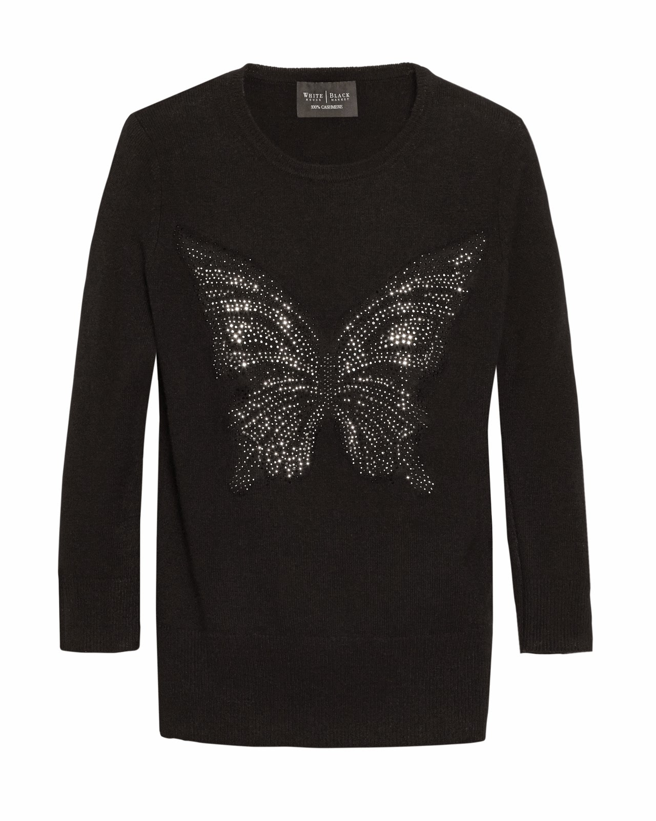 Butterfly Embellished Black Tee