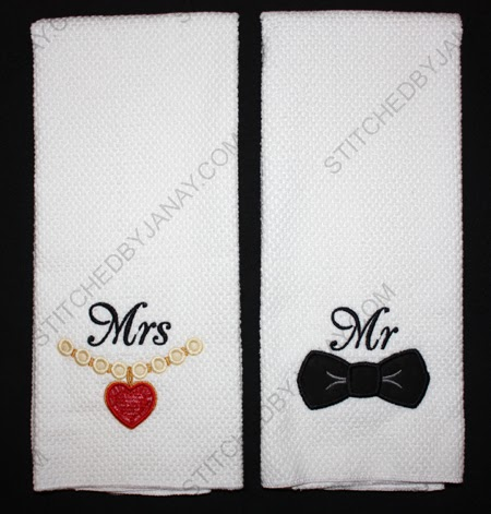 stitched by janay kitchen towels for the bride and groom