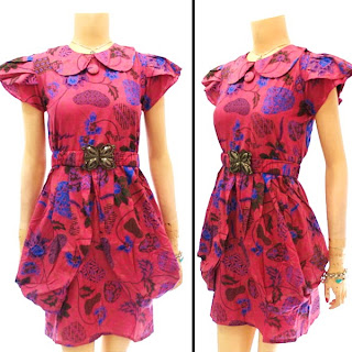 DB2780 - Mode Baju Dress Batik Modern Terbaru 2013