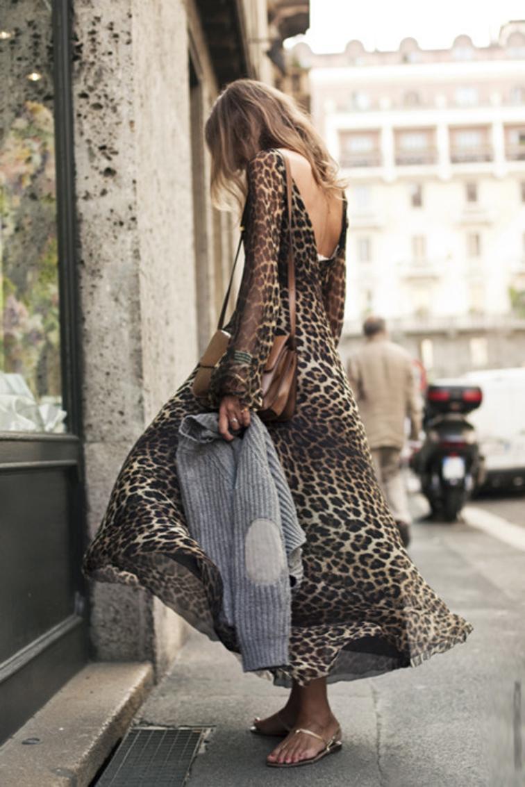 Boho Leopard Maxi Dress Street Style