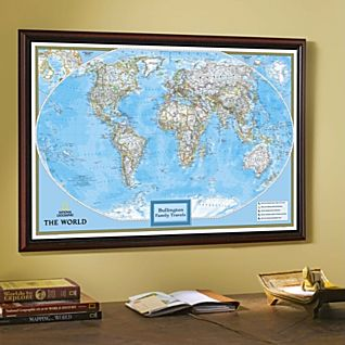 Framed World Map Classic Blue