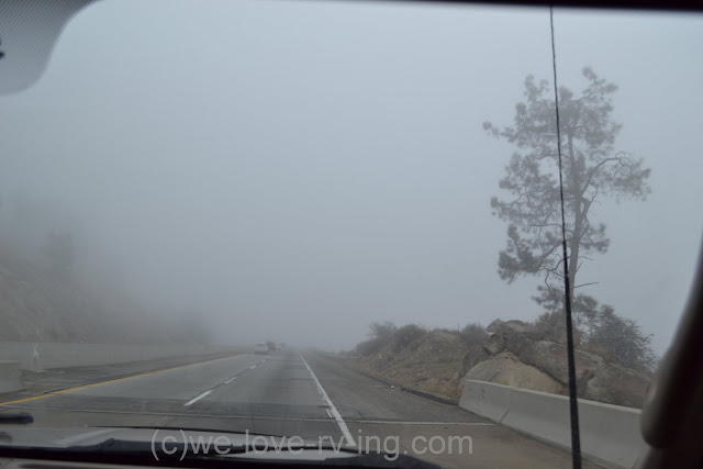 low visibility shown on the highway