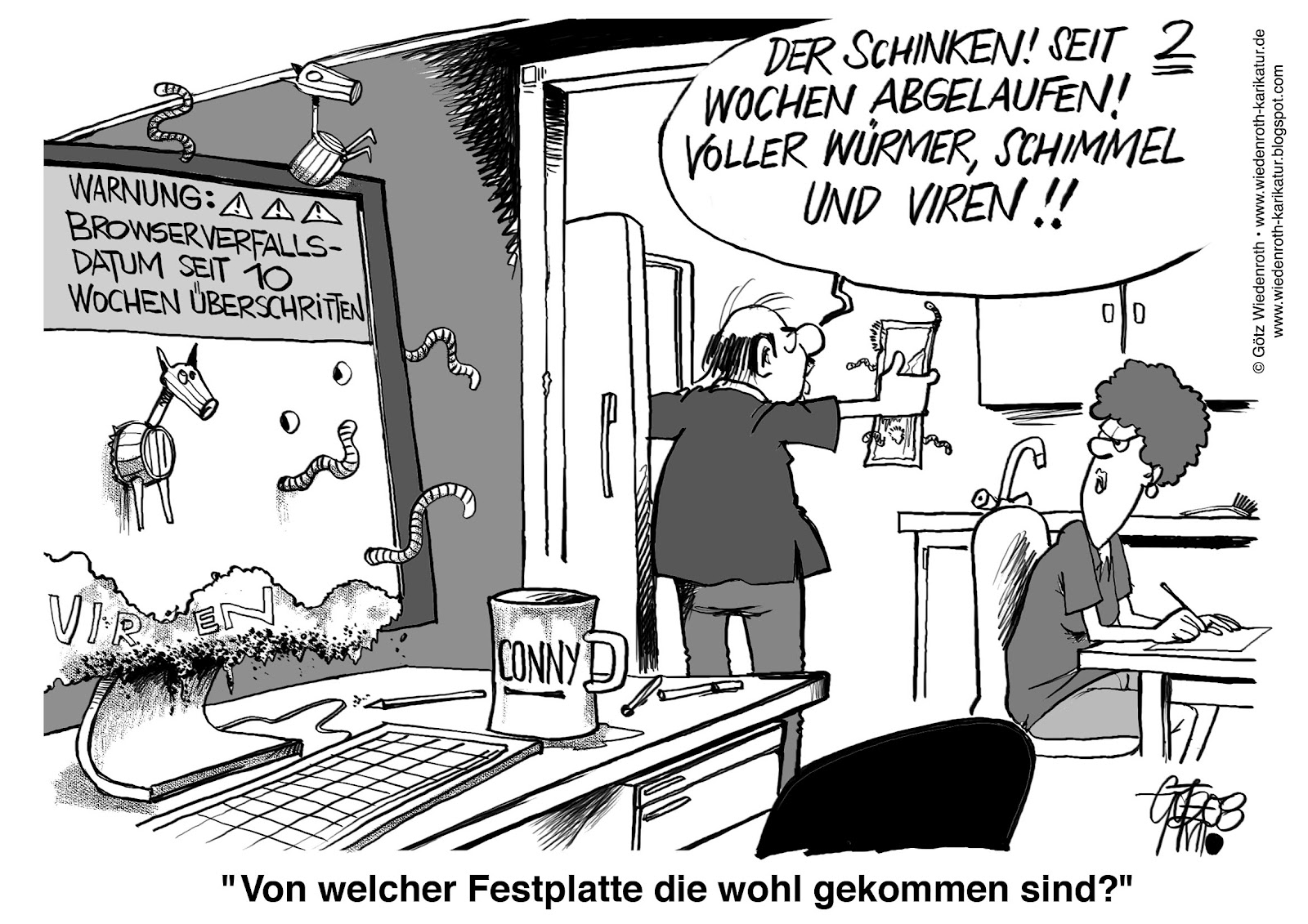 computer: festplatten-hygiene. | karikamur-karikatur! - wiedenroth - Hygiene Küche