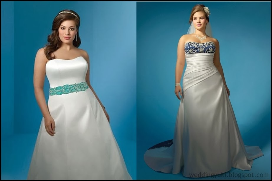 Plus size wedding gown with color weddingyuki for Colored wedding dresses plus size