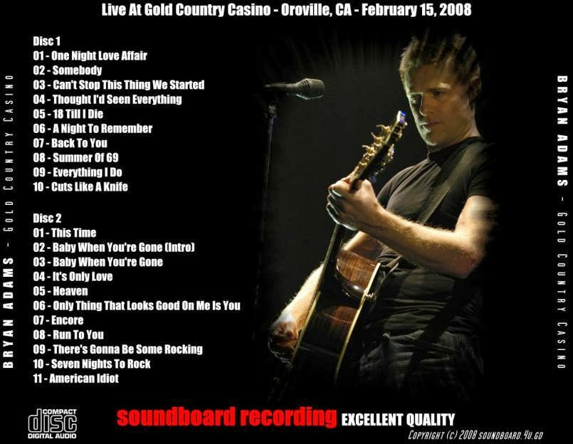Rock Anthology Bryan Adams Gold Country Casino 2008 Flac