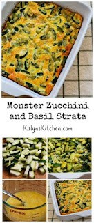 Monster Zucchini and Basil Strata [from KalynsKitchen.com]