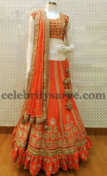 Orange Lace Work Lehenga