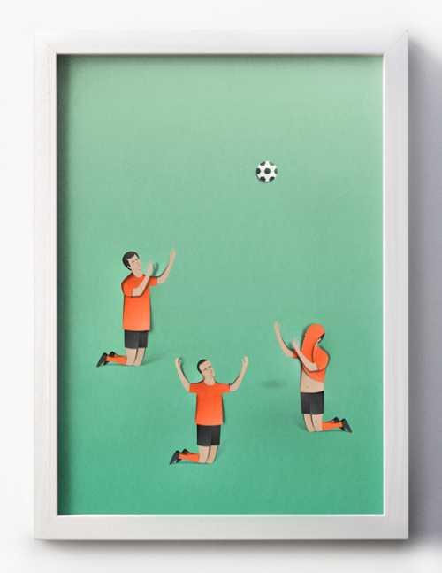 eiko ojala ilustração cortes de papel Futebol - religião mundial