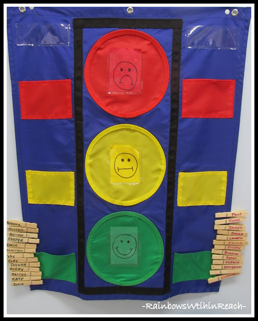 photo of: Behavior Chart Using Stop Light Theme (Behavior Chart RoundUP via RainbowsWithinReach)